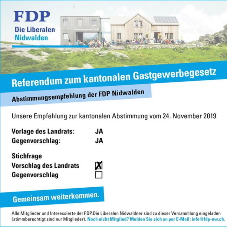 Revision Gastgewerbegesetz: FDP Nidwalden sagt JA zur Vorlage des Landrats